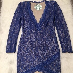XTaren Royal Blue Paisley Lace Long Sleeve Dress